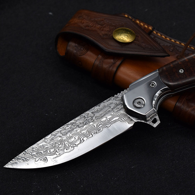 NEW Damascus VG10 steel folding knife High quality knife High hardness outdoor camp Into the Wild hunting knife rescue tool EDC 4