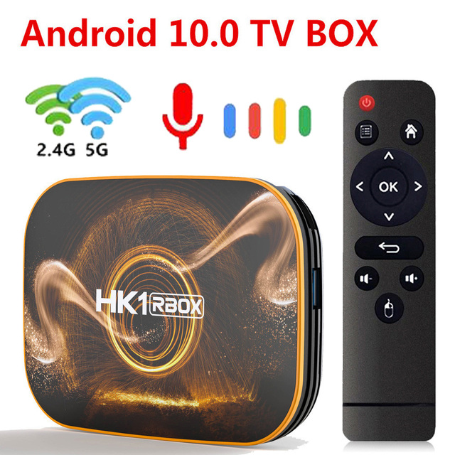 TEKASMI HK1 RBOX Smart TV Box Android 10 Rockchip RK3318 4GB 64GB 32GB H.265 2.4G 5GHz Wifi Bluetooth 4K Set TOP BOX 2GB 16GB