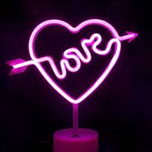 Светодиодный неоновый ночник в форме сердца с основанием декоративсветильник