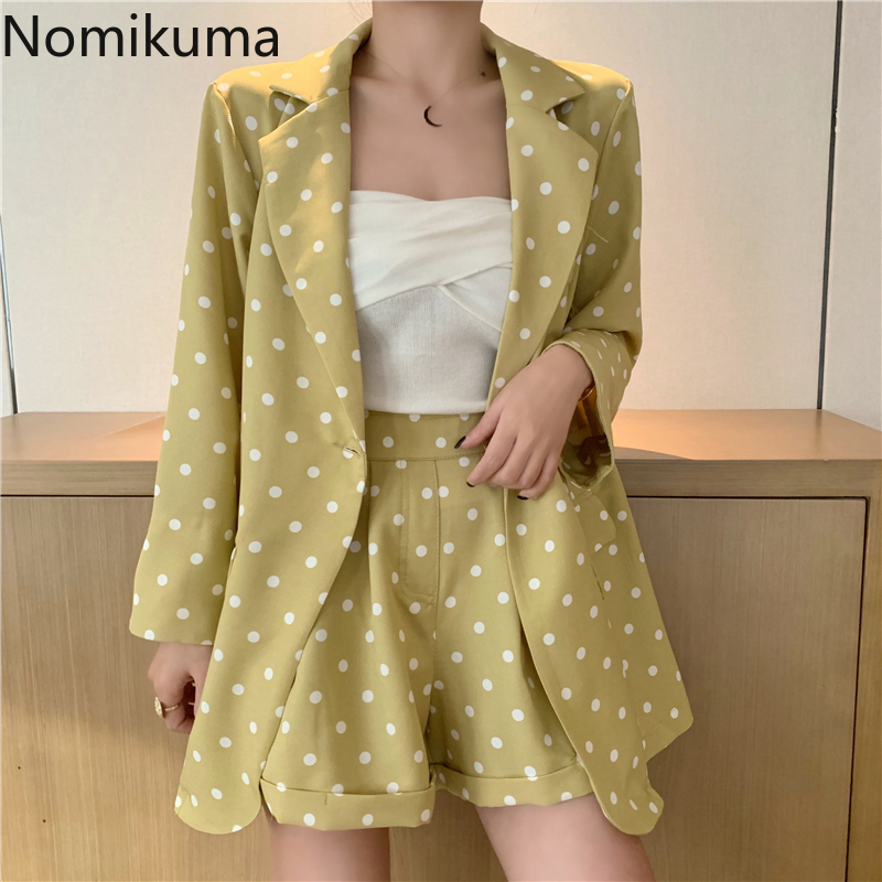 Nomikuma Korean Sweet Suits Women Casual Fashion Long Sleeve Blazer High Waist Shorts 2 Piece Set Lady Stylish Dot Outfit 3a903