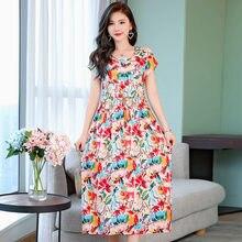Женское удобное платье из хлопка и льна с цветочным принтом
