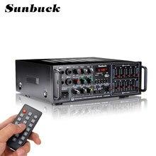 SUNBUCK coche/Audio en casa amplificador bluetooth USB SD FM 4 * Mic amplificador estéreo 2000W 2 canal sintonizador HIFI remoto Audio en casa HiFi