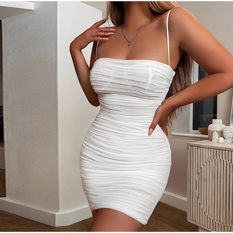 NewAsia Double Layers Mesh Summer Dress 2019 Women Spaghetti Straps Bodycon Ruched Dress Woman Party Night Club Dress Sexy Robe