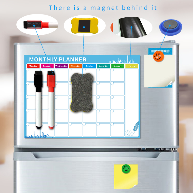 YIBAI A3 30*42cm Magnet Plan Whiteboard Flexible Fridge Magnetic Refrigerator Waterproof Drawing Message Board With Free Gift
