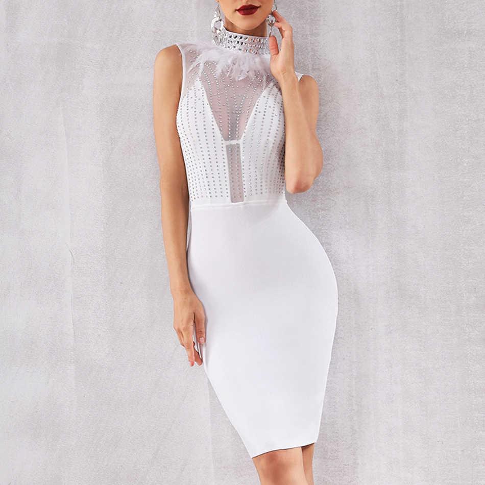 Seamyla חדש תחבושת שמלת נשים שחור לבן נוצת סלבריטאים מסיבת שמלות קיץ סקסי ללא שרוולים חרוזים מועדון שמלת Vestidos