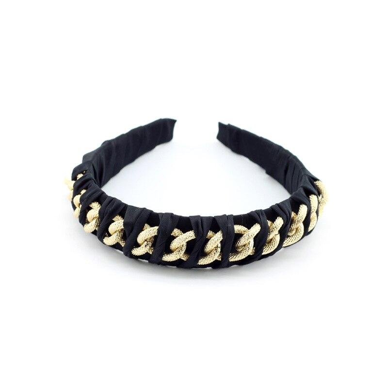 Oaoleer basit Vintage barok altın zincir kafa siyah kafa bandı alaşım Metal Punk saç bandı el yapımı pilili türban