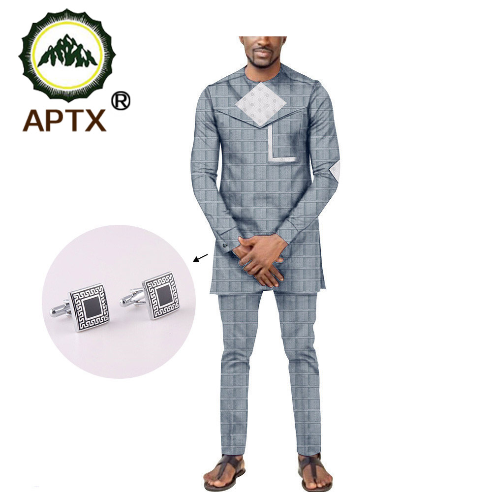 APTX Jacquard Fabric Cotton Suit For Men Full Sleeves Top+ Slim Pants Men's Casual Suit T1916001