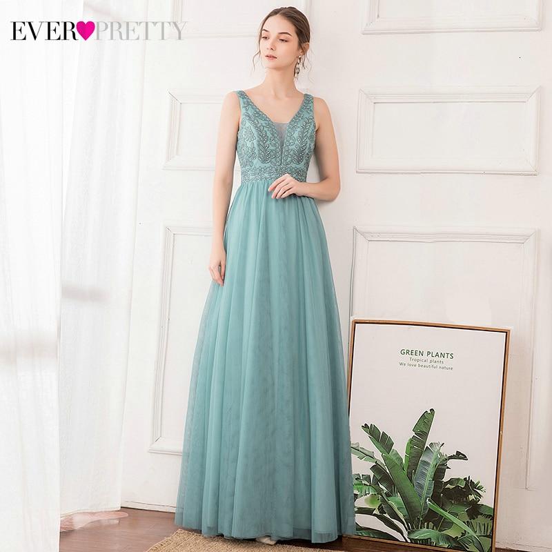 Elegant Beaded Bridesmaid Dresses Ever Pretty A-Line V-Neck Embroidery Tulle Illusion Wedding Guest Dresses Vestido Madrinha