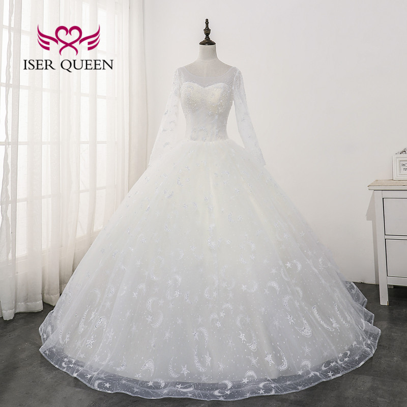 Long Sleeves Illusion Wedding Gowns Champagne Color Beading  Pattern  Lace America And Europe New 2020 Wedding Dress WX0171