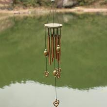 Solid Wood Retro Copper Wind Chime Chinese Style Blessing Hanging Ornaments  Metal Anti-rust Household Lucky Chimes