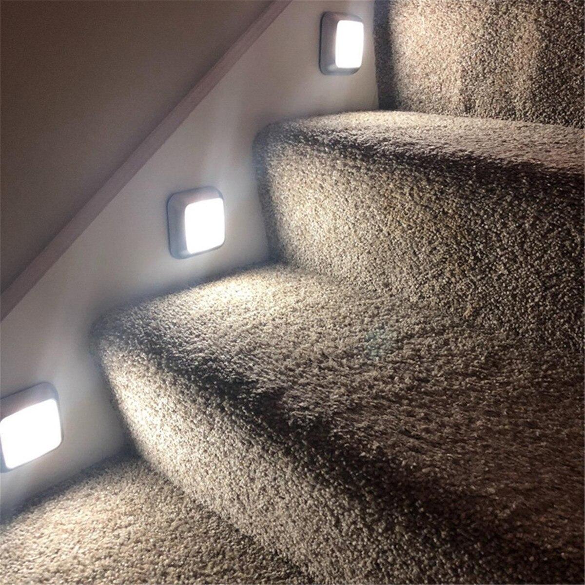 6LEDs PIR Motion Sensor Light Battery Led Nightlight For Closet Wardrobe Stair Lighting Hallway Night Lamp For Home