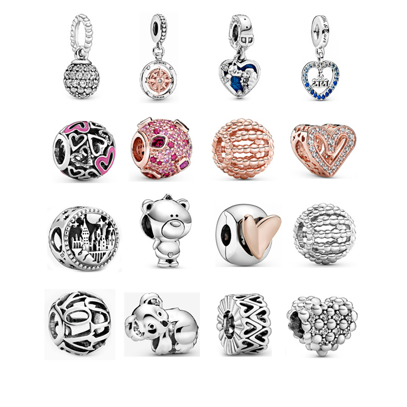 2020 New 925 Sterling Silver Bear Openwork Heart Pink Lips Pave Ball Charm Fit Original Pandora Bracelet Women DIY Jewelry Beads