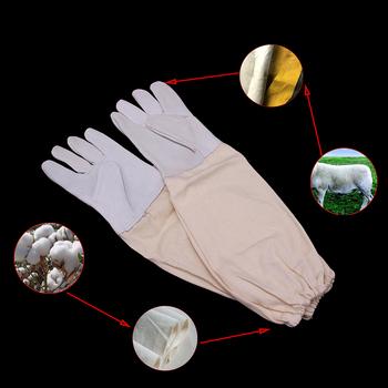 10Pairs profesjonalne rękawiczki z długim rękawem kożuch pszczoła rękawice skórzane pszczelarstwo imker ochronne anti-bite sprzedaż hurtowa dostawa tanie i dobre opinie Pszczelarstwo Rękawice White yellow sheepskin+cotton