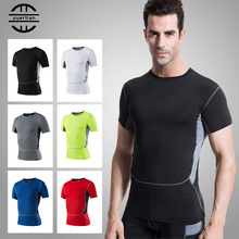 Mens 6 Colors Quickly Dry T-Shirt Short Sleeve Elastic Sportswear Fitness Tight Running Shirt Gym Sports Suit Soccer Jerseys gradient color short sleeve mens sports suit
