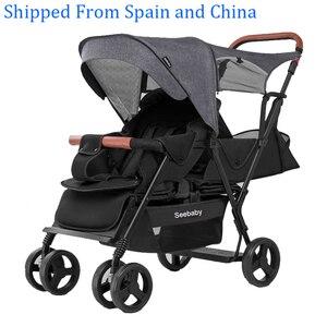 Image 1 - Seebaby ikizler bebek arabası çift çocuk 4 tekerlekli bebek arabası arka koltuk ayakta kurulu ile T12 avrupa tarzı
