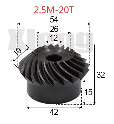 2pcs 2.5M-20 Teeths Inner Hole: 12mm Precision Spiral Bevel Gear Spiral Bevel Gear