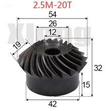 2pcs 2.5M-20 Teeths Inner Hole: 12mm Precision Spiral Bevel Gear Spiral Bevel