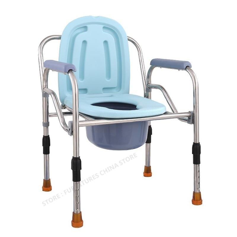 Mobilya'ten Banyo Sandalyeleri ve Tabureleri'de Tuvalet sandalyesi yaşlılar için duş sandalyesi tuvalet ayak dışkı yürüteçler taşınabilir sandalye kol dayama ile yüksekliği ayarlanabilir title=