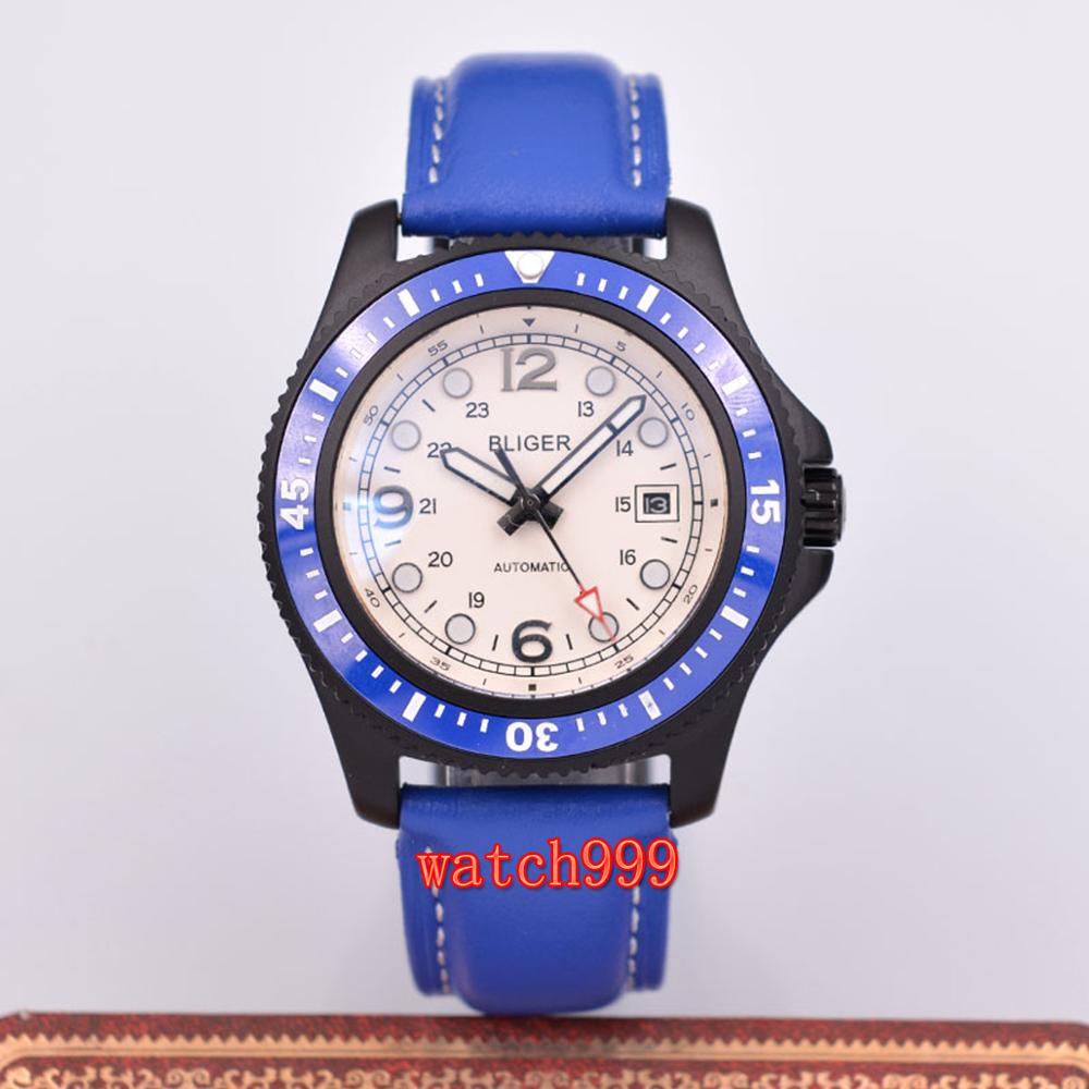 BLIGER 44mm blue leather strap automatic men's casual watch white dial stainless steel case waterproof mechanical watch