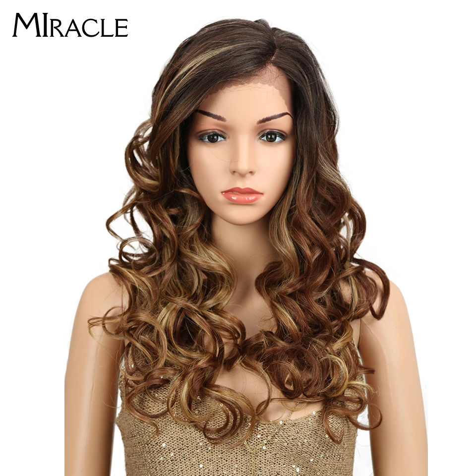 "Miracle Synthetic Hair Long Ombre Wig Mix 3 Colors Side Part Space 22"" Heat Resistant Bouncy Curly Lace Front Wigs For Women