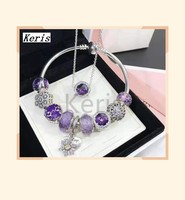 High Quality Replica 1:1 100%925 Pure Silver 2019 New Purple Three Side Beaded Cat Eye Necklace Bracelet Set Free Delivery