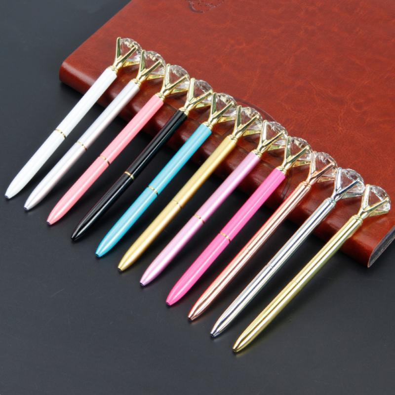 12 Color Big Diamond Crystal Pen Gem Ballpoint Pens Ring Wedding Metal BallPen Kawaii Magical Pen Fashion School Office Supplies