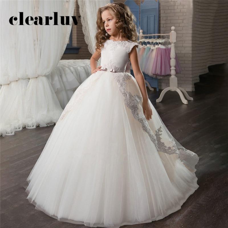 Girls Wedding Dress B059 Train Lace Flower Girl Dresses O-Neck Kids Evening Dress White Elegant Girls Princess Dresses With Bow