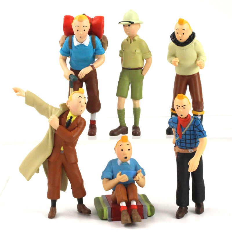 6pcs 5cm 8cm The Adventures of Tintin Figurine Tintin Snowy Blue Lotus Cartoon