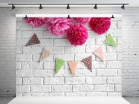 VinylBDS 10x10ft White Brick Children Birthday Photography Backdrops Bunting Baby Shower Backdrop Photo Background|Background| |  -