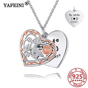YAFEINI 925 Sterling Silver Heart Pendant Necklaces Hollow Two Layers Woman's S925 Jewelry Valentine's Day Gift Anniversary Gift