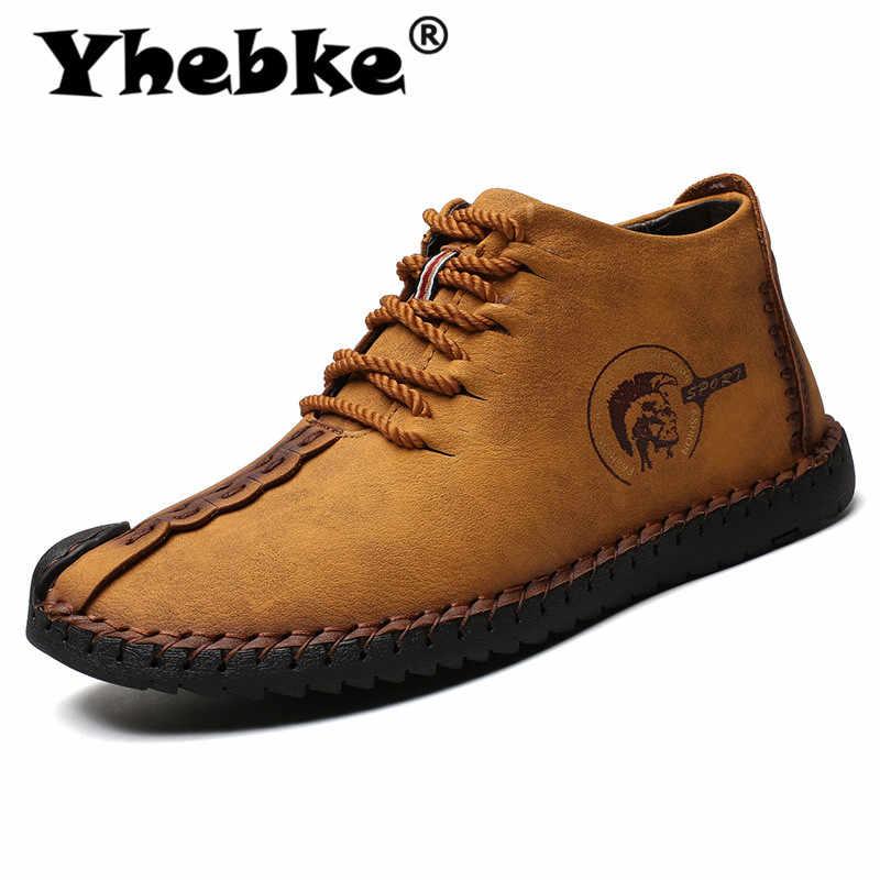 Botas de moda Yhebke para hombre Botas de alta calidad de tobillo de cuero dividido botas de nieve zapatos de piel caliente de peluche con cordones de