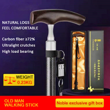 Crutches Walking-Stick Telescopic Ultralight Carbon-Fiber Wooden T-Handle Elder for Great-Gifts