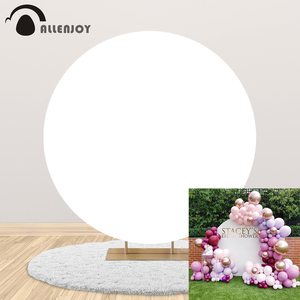 Allenjoy custom solid pure white round background DIY wedding birthday party supplies decor circle backdrop cover photocall