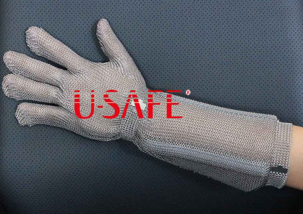 Full Metal Long Cuff Chainmail Cut Resistant Safety Work Butcher Steel Gloves