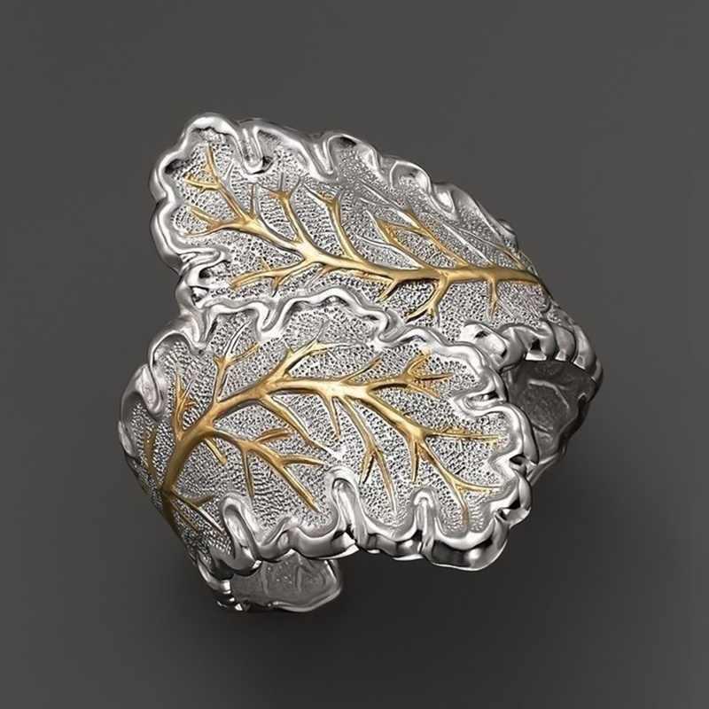 แหวนใบผู้หญิง Silver Micro Inlay ปัจจุบันนิ้วมือแหวนแฟชั่นเครื่องประดับเปิด Cuff ค็อกเทล Bague
