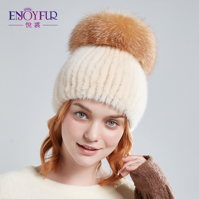 ENJOYFUR Women Fur Hats For Winter Genuine Mink Fur Cap With Silver Fox Fur Pom Poms Warm Knitted Beanies Cap Fur Hat
