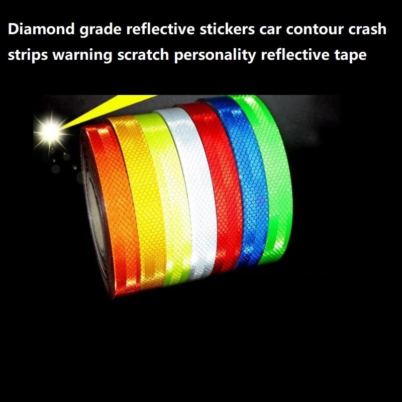 2.5CM Width PET Super Reflective Car Automobile Contour Crash Strip Decoratiive Self-adhesive Tape Road Traffic Warning Sign