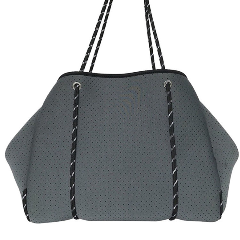 Ladies Handbag Crossbody Large Shopping Neoprene Bag Light Lady Handbag Beach Bag Outdoor Casual Mummy Bag Dark Gray