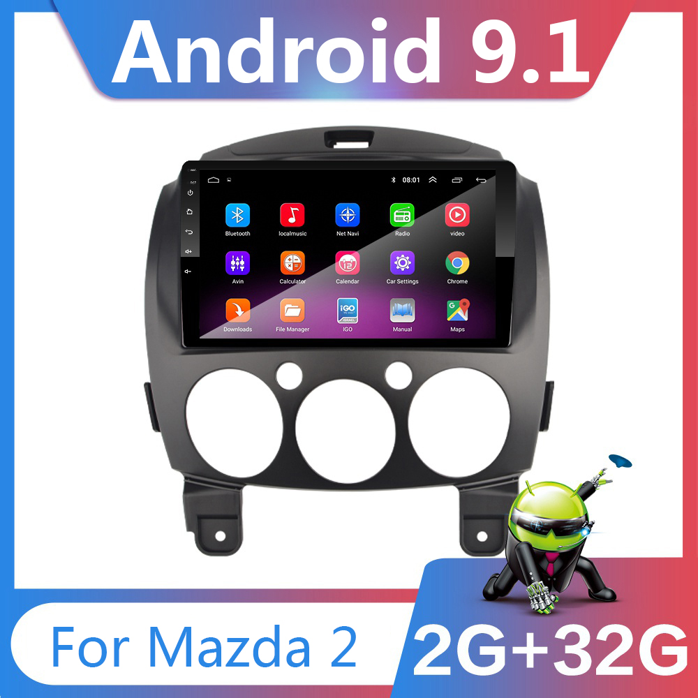9 inch Android 9 1 2 Din Dvd Car Multimedia Video Player for Mazda 2 2007-2014 2din Autoradio GPS Navigation Stereo Radio Wifi
