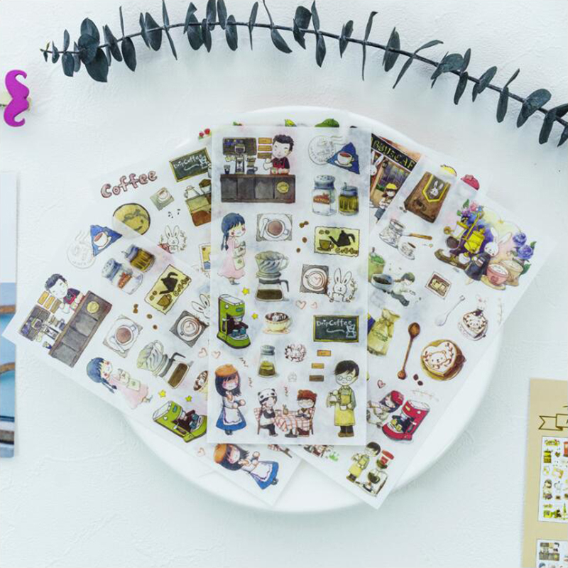 Washi Sticker Child Colorful Decoracion Paper Scrapbook DIY Office Stationery School Supplies 6 Sheets/Bag