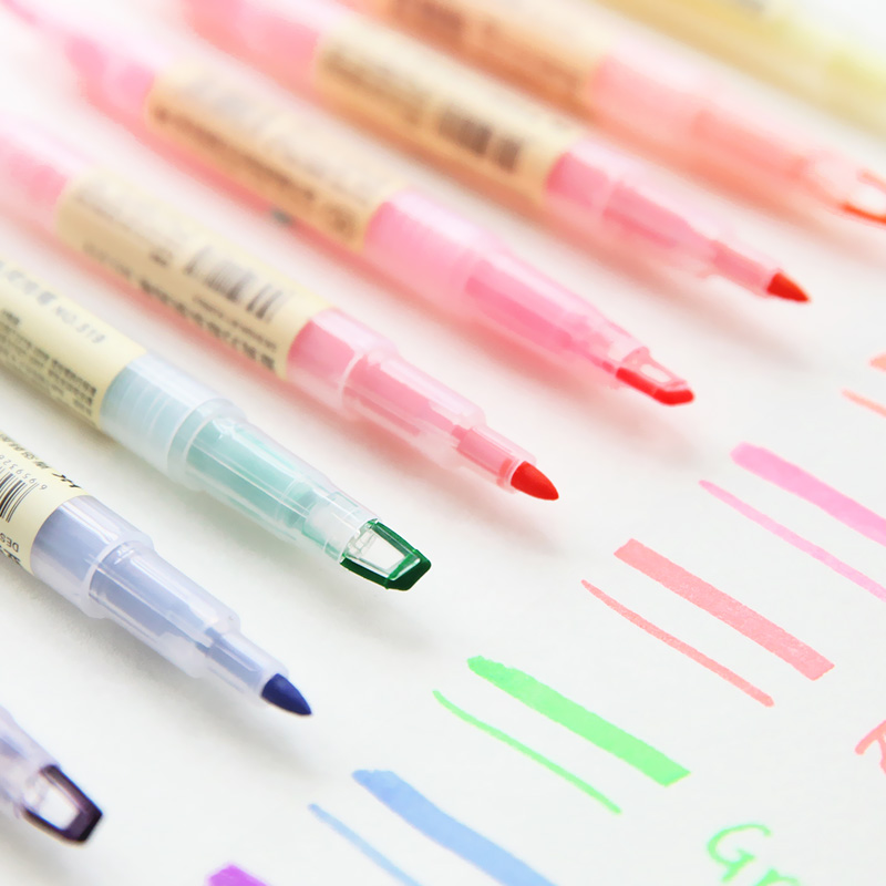 Dual Head Writing 2 In 1 Highlighter Pen Japanese Stationery Cute Office School Supplies