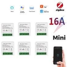 10 pçs tuya 16a 10a interruptor inteligente disjuntor módulo suporta 2 vias app relé de voz temporizador inicial do google alexa 110v 220v interruptor