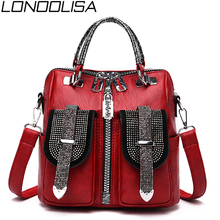 3 in 1 Fashion Diamond Women Small Backpack High Quality Soft Leather Backpack Exquisite Luxury Crossbody Bags For Women mochila