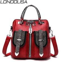 3 in 1 moda elmas kadın küçük sırt çantası yüksek kaliteli yumuşak deri sırt çantası zarif lüks kadınlar için Crossbody çanta mochila
