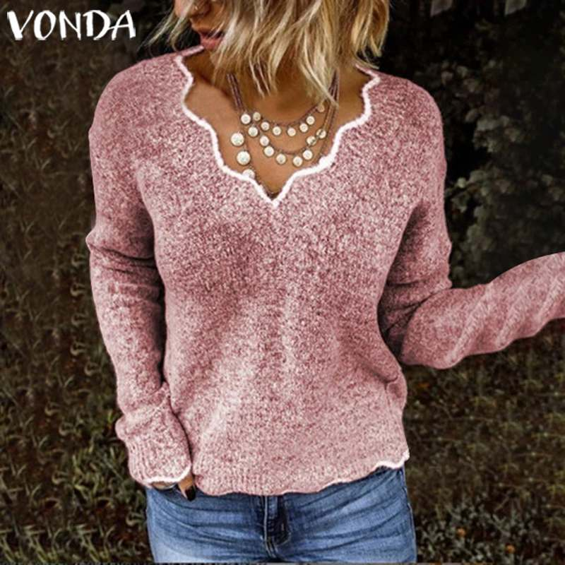 VONDA Women Sweater 2019 Autumn Long Sleeve Blouse Knitwear Tops Sexy Deep V Solid Knitted Pullover Thin Sweater Plus Size S-5XL