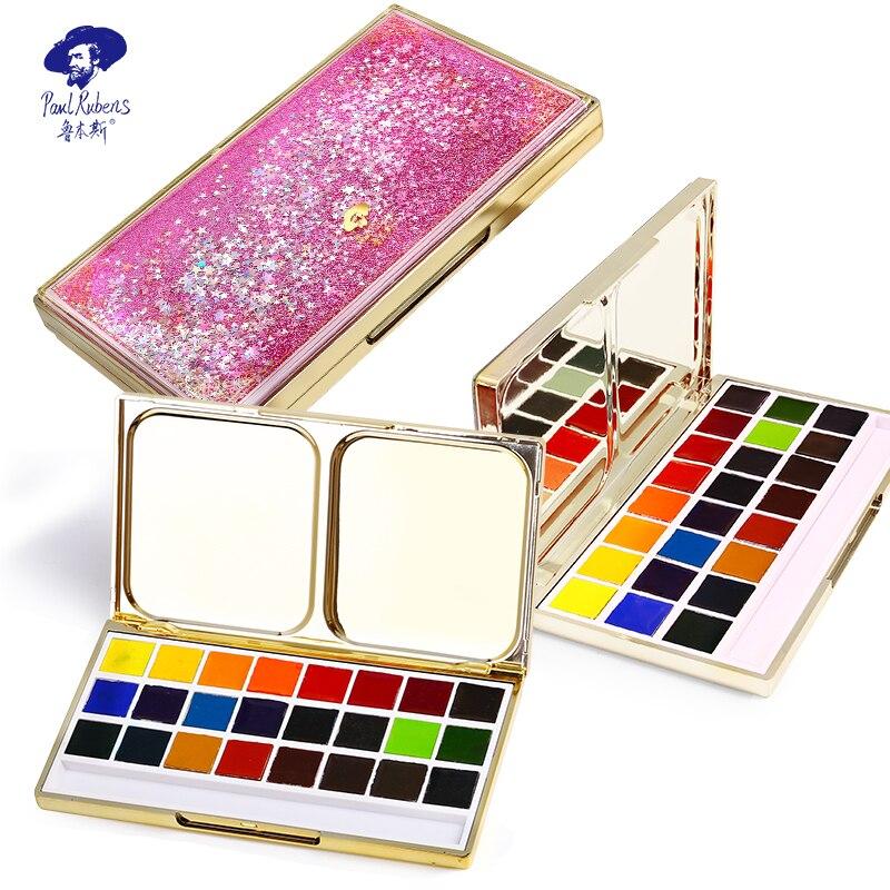 Official Rubens 24 Color Artist Travel Portable Brilliant Series Smart Solid Watercolor Paint Set