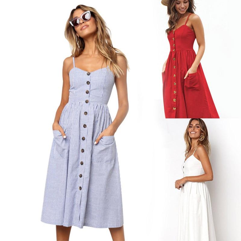 2020 Women Summer Dress Sexy Backless Midi Dress Boho Polka Dot Striped Floral Beach Dress Female Casual Vintage Button Sundress