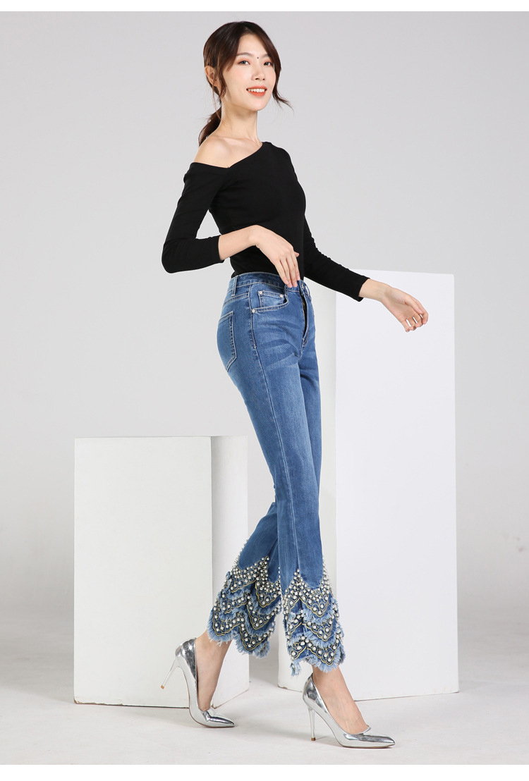 KSTUN FERZIGE Jeans for Women high waist blue elasticity flare pants embroidered beads luxury sexy female trousers brand jeans mujer 13