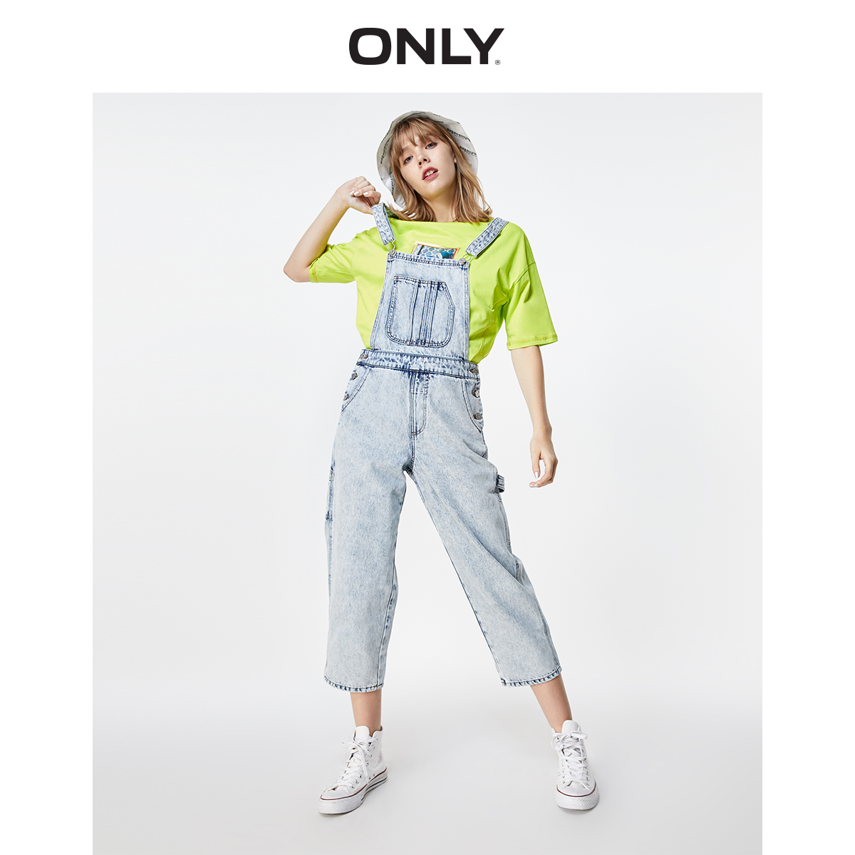 ONLY Women's Distressed Light Color Capri Denim Overalls |11937K501