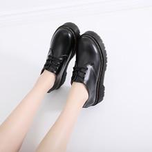 Zapatos japoneses de plataforma Oxford para mujer, calzado informal de cuero, moda británica, zapatos de vestir de goma
